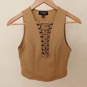 Tops - Revamped tan lace front crop top